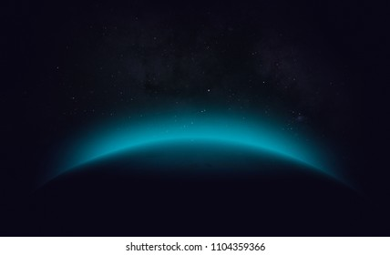 Silhouette of unknown planet in the outer space. Abstract wallpaper