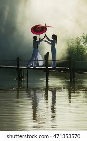 Silhouette of Vietnamese girl, The concept of sharing