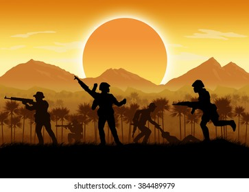 Silhouette of Vietnamese soldier or guerrilla force Circa late 1960's in Vietnam or jungle warfare scenario. Artist illustration.