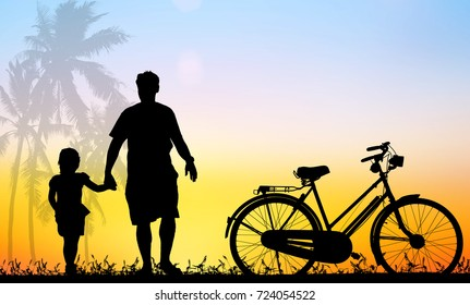 silhouette vintage bike father and son walking on blurry colorful sky at sunset time