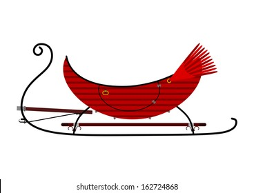 Silhouette of a vintage sleigh on a white background.