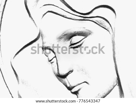 Silhouette Virgin Mary Symbol Love Kindness Stock Photo Edit Now