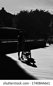 silhouette walking in the park black and white