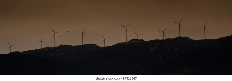Silhouette of wind power station