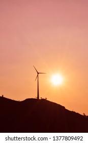 Silhouette of a wind turbine