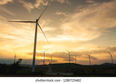 Silhouette of wind Turbine in sunset mood, Pitsanulook, Northern of Thailand