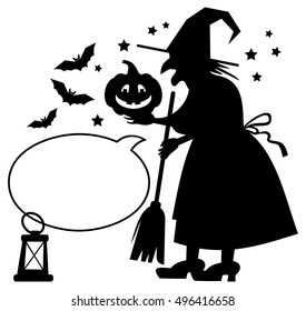Silhouette of a witch holding Halloween pumpkin and empty speech bubble. Raster clip art.