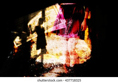 Silhouette of woman in black scary dark alley (double exposure)