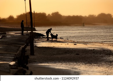 silhouette of a woman with a dog on the beach of the river Weser while sunset, a silhouette of a man can be seen standing behind