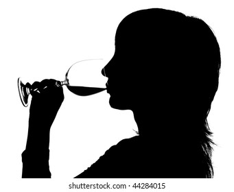 Silhouette of the woman drinking red wine on white background