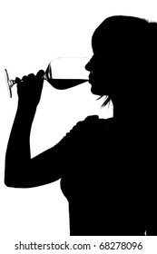 Silhouette of woman drinking red wine isolated on white