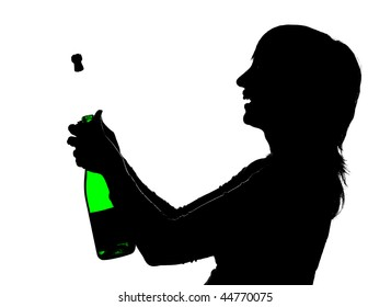 Silhouette of the woman with green bottle in hands opening champagne so that cork is shoot out, isolated on white