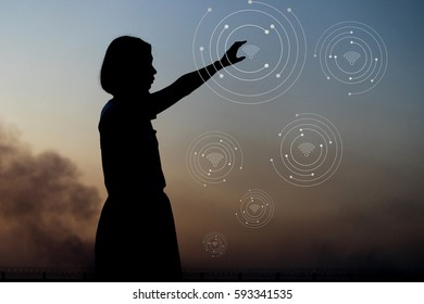 Silhouette woman hand pointing smart internet. Internet information technology system. network connection concept.