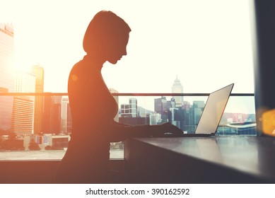 Silhouette of a woman intelligent managing director is keyboarding on laptop computer, while is sitting in modern office interior. Female economist is analyzing the activities of company via net-book