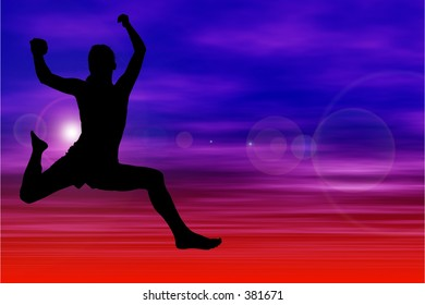 Silhouette Of Woman Jumping Against Sky.