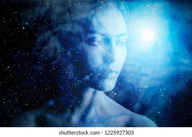 Silhouette of woman on space background.