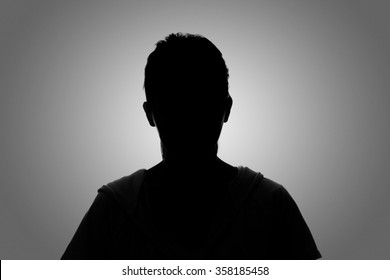 Silhouette woman portrait, concept of unknown, anonymous, unnamed etc.
