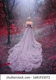 Silhouette woman queen walk in Autumn forest magic trees red leaves. Elegant blonde princess. Royal Medieval clothes vintage evening purple dress long train bare back. backdrop blue shiny mystic fog