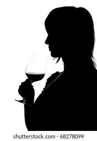 Silhouette of woman smelling red wine isolated on white