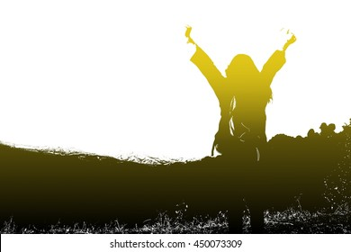 silhouette woman standing on the mountain with his arms wide open