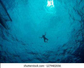 Silhouette of woman swimming underwater in deep blue sea. People swim and snorkel