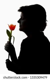 Silhouette woman and tulip in studio