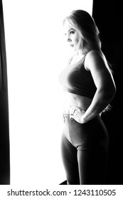 Silhouette of woman's with back light