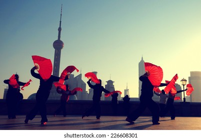 Silhouette Women Fan Dancing Concept