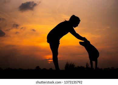 Silhouette women playing with dog at sunset - Image