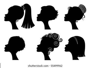 Silhouette women portraits .Hairstyle. Rasterized vector