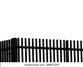silhouette wood fence model isolated over white background