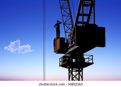 Silhouette of the worker on a background of the sky