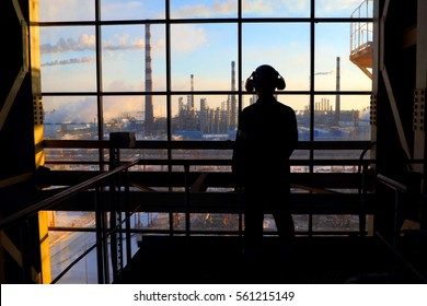 Silhouette of a worker.Industrial business.