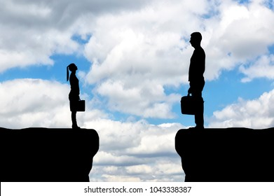The silhouette of the workers, the big man and the little woman between them is a abyss. The concept of gender inequality in a career