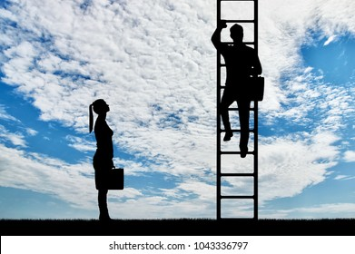 Silhouette of workers, a man climbs the career ladder instead of a woman. The concept of gender inequality and discrimination against women in their careers