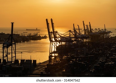 Silhouette of working cranes in sea port for cargo industry design
