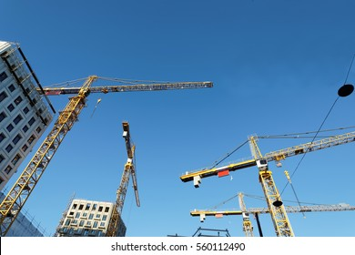 Silhouette of yellow cranes, blue sky and high buildings