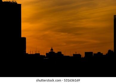 Silhouette of Yokohama city at dusk
