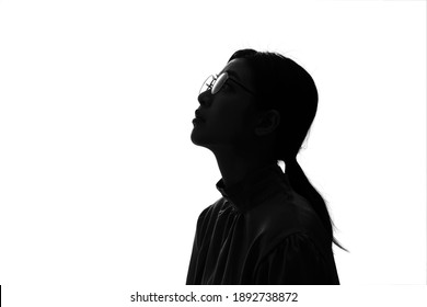Silhouette of young asian businesswoman.
