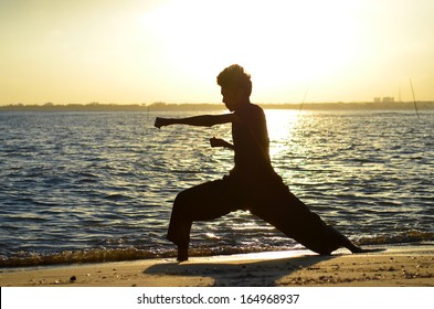 Silhouette of young boy performing a pencak silat, Malay traditional discipline martial art an evening at the beach