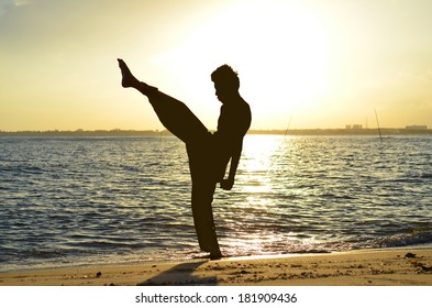Silhouette of young boy performing a pencak silat, Malay traditional discipline martial art in evening at the beach