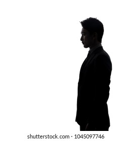 Silhouette of young businessperson.