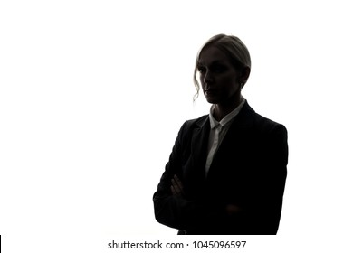 Silhouette of young businesswoman.