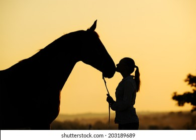 Silhouette of a young  girl with horse giving him a kiss at the sunset