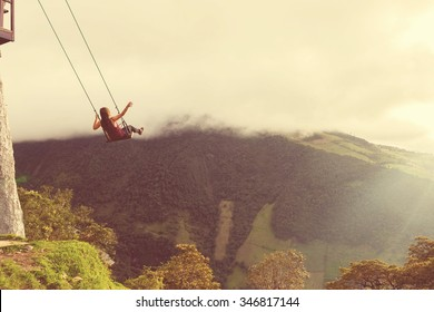 Silhouette Of A Young Happy Woman On A Swing, Swinging Over The Andes Mountains, Tree House, Ecuador, Vintage Filter