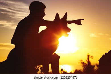 silhouette of a young male walking with a dog on the field at sunset, guy training pet in summer nature, profile of boy giving a command to a pet, the concept of active leisure with and friendship