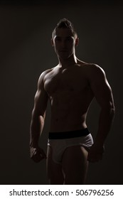 silhouette young man bodybuilder anonymous unknown