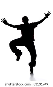Silhouette of young man breakdancing isolated over white