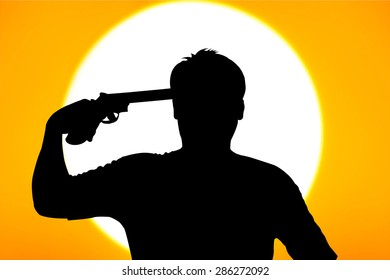silhouette of Young man commits suicide with his gun