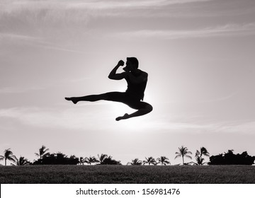 Silhouette of young man practicing muay thai